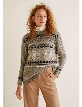 Sweter Z żakardowej Dzianiny by Mango