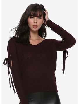 Burgundy Lace Up Cold Shoulder Girls Sweater by Hot Topic