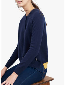 Joules Evelyn Raglan Colour Strip Cardigan, Navy by Joules