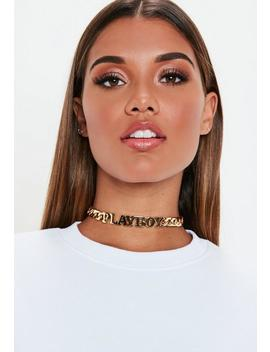 Playboy X Missguided Gold Thick Chain Necklace by Missguided