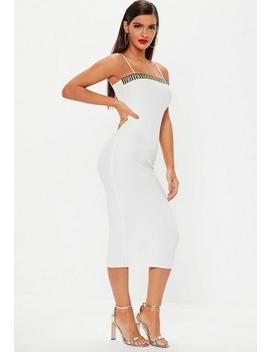 White Strappy Grecian Strap Midi Dress by Missguided