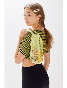 Motel Cavazza Gingham Square Neck Cropped Top by Motel