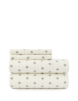 Stella Cross Flannel Queen Sheet Set   Ivory by Pendleton