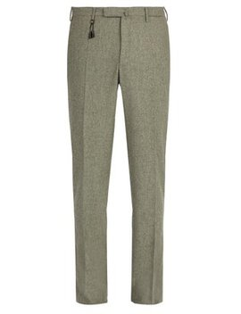Slim Fit Wool Trousers by Incotex