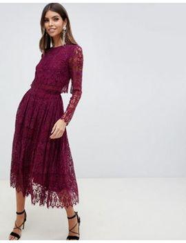 Asos Design Lace Long Sleeve Midi Prom Dress by Asos Design