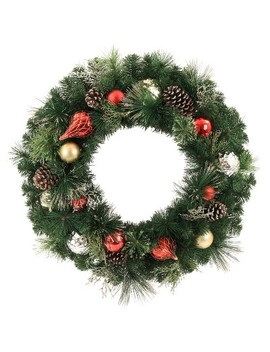 "30"" Christmas Unlit Red/Champagne Ornaments Artificial Pine Wreath   Wondershop™ by Shop This Collection"