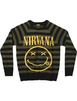 Nirvana Smiley Logo Striped Crewneck Sweater Sweatshirt New Authentic S Xl by Nirvana