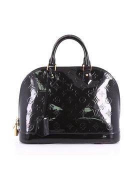 Alma Handbag Monogram Vernis Pm Dark Navy Blue Leather Satchel by Louis Vuitton