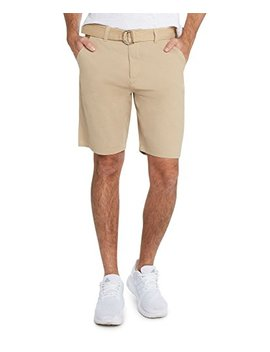 9 Crowns Men's Flat Front Modern Fit Twill Chino Belted Shorts Essentials by 9 Crowns