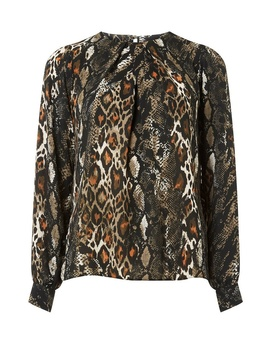 Khaki Animal Print Pleat Neck Top by Dorothy Perkins