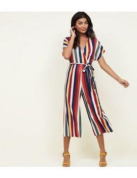 Multicloured Vertical Stripe Tie Waist Wrap Jumpsuit by New Look