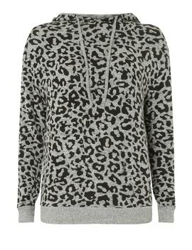 Grey Leopard Print Hoodie by Dorothy Perkins