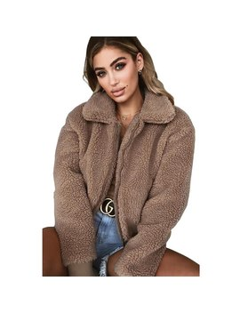 Faux Fur Coat Women Teddy Coat Jacket Soft Plush Jacket Black Overcoat Plus Size Autumn Winter Zipper Lamb Fleece Plush Fur Coat by Ismtide