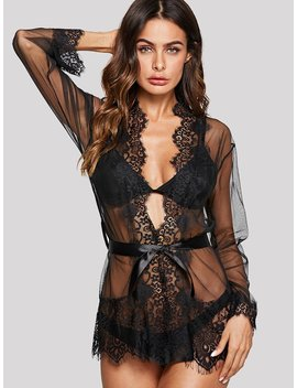 Eyelash Lace Trim Robe With Thong by Shein