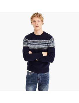 Lambswool Crewneck Sweater In Navy Fair Isle by J.Crew