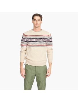 Lambswool Crewneck Sweater In Heather Fair Isle by J.Crew