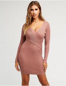Ribbed Knit Wrap Sweater Dress by Charlotte Russe