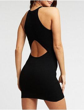 Racer Neck Cut Out Bodycon Dress by Charlotte Russe