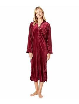 Velvet Long Sleeve Notch Collar Zip Front Caftan by Lauren Ralph Lauren