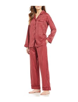 Satin Jacquard Striped Print Pajamas by Cabernet