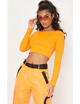 Neon Orange Scoop Neck Long Sleeve Crop Top by Prettylittlething