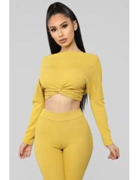 Knot Yours Anymore Ribbed Set   Mustard by Fashion Nova