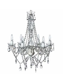 "The Original Gypsy Color 6 Light Large Crystal Chandelier H26"" W22"", White Metal Frame With Clear Acrylic Crystals (Better Than Glass) by Gypsy Color"