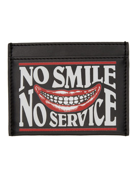 Black 'no Smile No Service' Card Holder by Stella Mccartney