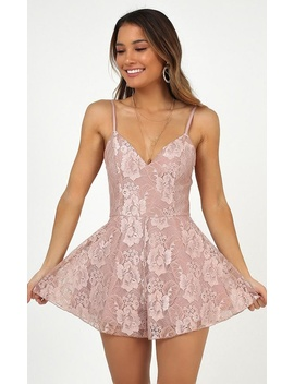Golden Hour Playsuit In Blush Lace by Showpo Fashion