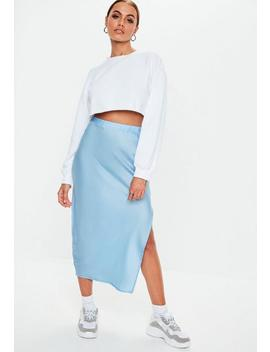 Blue Satin Slip Midi Skirt by Missguided