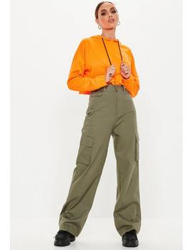 Khaki Plain Straight Leg Cargo Trousers by Missguided