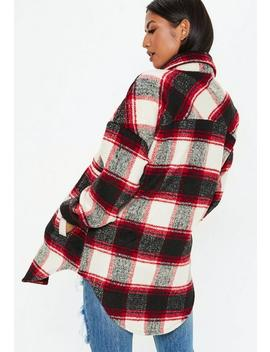 Red Long Length Check Print Shacket by Missguided