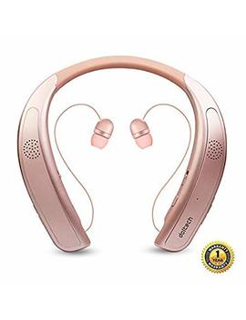 Bluetooth Headphones Speaker 2 In 1,Dol Tech Wireless Headphones Neckband Wearable Speaker Retractable Earbuds 3 D Stereo Sound Sweatproof Headset With Mic by Gardway