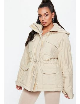 Cream Sporty Parka Jacket by Missguided