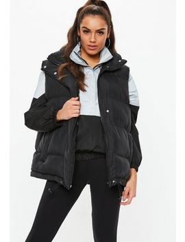 Black Puffer Gilet by Missguided