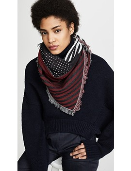 Dots And Stripes Fringed Square Scarf by Rebecca Minkoff