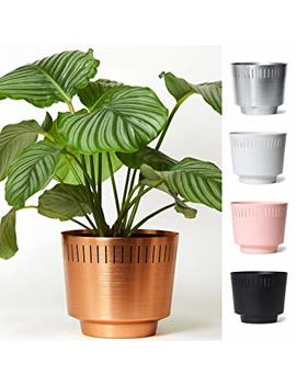 "Modnlovr Mid Century Modern Indoor Planter, 8.5"" Stylish Leak Proof Aluminum House Plant Pot For Home Office Or Apartment, Succulent And Cactus Holder, Ice And Champagne Bucket, Anodized Copper by Modnlovr"
