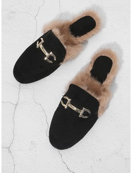 Faux Fur Trim Loafer Mules by Shein