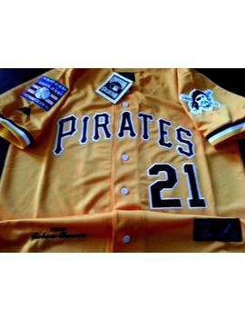 Pittsburgh Pirates Yellow #21 Roberto Clemente 2patch Sewn Majestic Jersey Men's by Majestic