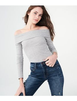 Long Sleeve Heathered Folded Off The Shoulder Top*** by Aeropostale