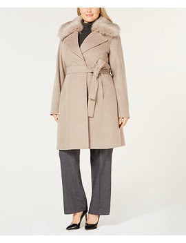 Plus Size Faux Fur Collar Belted Wool Coat by T Tahari