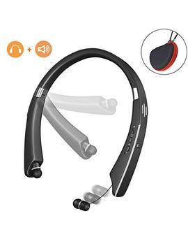 Bluetooth Headphones Speaker, Lukasa Wireless Neckband Headset V4.1 Foldable With Retractable Earbuds, Hi Fi Stereo Sound, 16 Hrs Playtime, Personal Bluetooth Speakers, Noise Cancelling Microphone by Lukasa