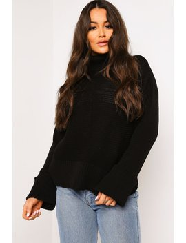 Black Roll Neck Knitted Jumper by Lasula