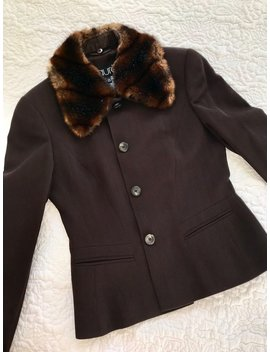 Vintage Laurel Pure New Wool Brown Blazer Jacket Detachable Faux Fur Collar Eu 38 Uk 10 by Etsy