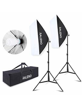 "Raleno Softbox Photography Lighting Kit 20""X28"" Photography Continuous Lighting System Photo Studio Equipment With 2pcs E27 Socket 5500 K Bulb Photo Model Portraits Shooting Box by Raleno"