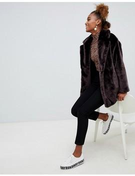 Monki Faux Fur Jacket In Brown by Monki