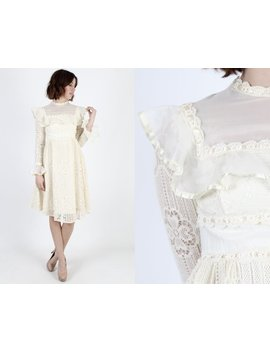 Mod Dress 60s Dress Crochet Lace Wedding Dress Cocktail Dress Vintage 1960s Mod Floral Lace Boho Bridal Party Sheer Mini Dress S by Etsy