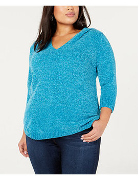 Plus Size Chenille Hooded Sweater by Ny Collection