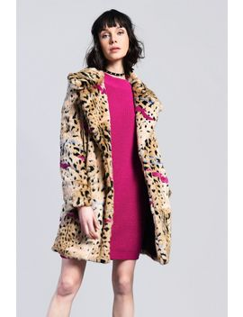 **Mixed Cheetah Faux Fur Coat By Glamorous by Topshop