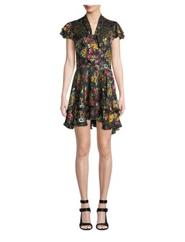 Moore Tie V Neck Cap Sleeve Layered Floral Print Velvet Mini Dress by Alice + Olivia
